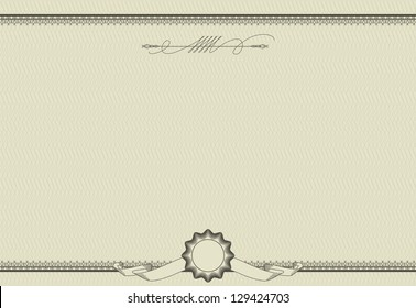 Vector ornamental template of  detailed certificate. Retro style