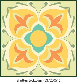 Vector ornamental tile background in Italian style. Beautiful ceramic tile