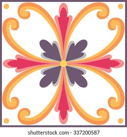 Vector ornamental tile background in Italian style. Ceramic tile