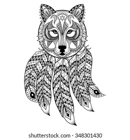 Vector ornamental Wolf with dreamcatcher, ethnic zentangled mascot, amulet, mask of werewolf,  patterned animal for adult coloring pages. Hand drawn totem illustration isolated on background.