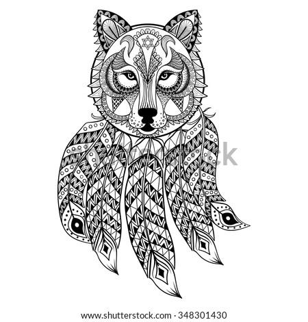 Vector Ornamental Wolf Dreamcatcher Ethnic Zentangled ...