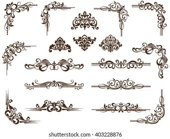 Vector ornaments frames, corners, borders