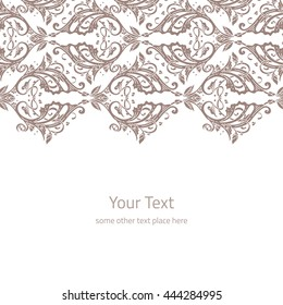 Vector ornate background with copy space, coffee brown floral ornament isolated on white page