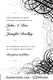Vector Ornate Black Grunge Frame. Easy to edit. Perfect for invitations or announcements.