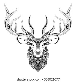 Vector Ornate Deer Horned Head. Patterned Tribal Monochrome Design. Symbol of the New Year and Christmas Holidays