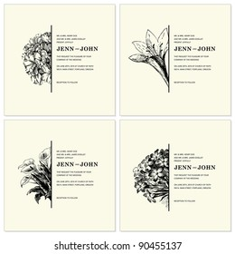 Vector Ornate Floral Half Frames Set. Easy to edit. Perfect for invitations or announcements.