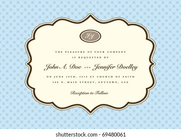 Vector ornate frame with sample text. Easy to edit. Perfect for invitations or announcements.