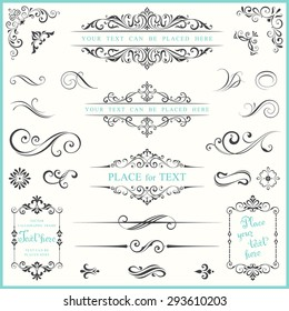 Vector ornate frames and scroll elements.