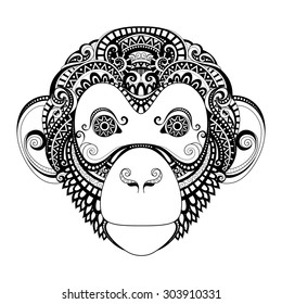 Vector Ornate Monkey Head. Patterned Tribal Monochrome Design. Symbol of the Year 2017 by Chinese Horoscope