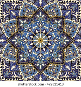 Vector ornate pattern with floral elements. Oriental blue ornament. Colorful template for carpet. Design for textile, shawl.