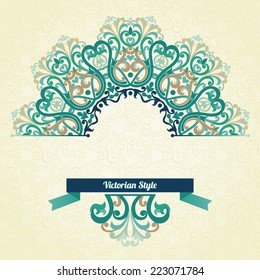 Vector ornate pattern in Victorian style. Decorative element for design and place for text. Ornamental lace pattern for wedding invitations and greeting cards.Traditional colorful decor.