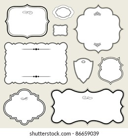 Vector Ornate Rounded Frame Set. Easy to edit. Perfect for invitations or announcements.