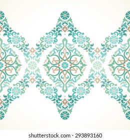 Vector ornate seamless border in Eastern style. Floral element for design, place for text. Ornamental vintage pattern for wedding invitations, birthday and greeting cards. Traditional green decor.