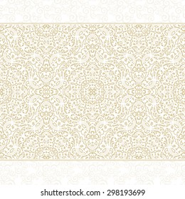 Vector ornate seamless border in Eastern style. Light beige element for design. Ornamental vintage pattern for wedding invitations, birthday and greeting cards. Traditional pastel decor.