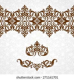 Vector ornate seamless border in Victorian style. Gorgeous element for design. Ornamental vintage pattern for wedding invitations, birthday and greeting cards.Traditional contrast decor.