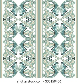 Vector ornate seamless floral pattern in Eastern style. Ornamental vintage pattern for wedding invitations, birthday and greeting cards. Traditional vintagel decor light blue ana white colors.