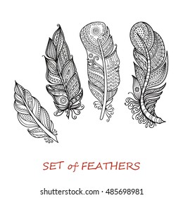 Vector Ornate Set of Stylized and Abstract Zentangle Feathers. Elements for Design and Coloring Pages.