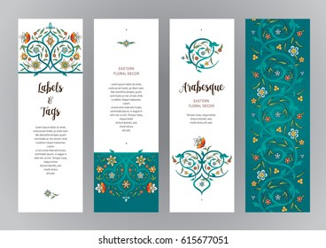 Vector ornate vertical cards in Eastern style. Turquoise floral decor. Template vintage frame for card, invitation, thank you message, bookmarks. Colorful labels, tags with place for text.