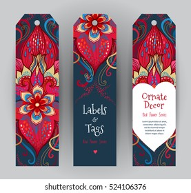 Vector ornate vertical cards in Victorian style. Eastern floral decor. Template vintage frame for card, invitation, thank you message, Valentine's Day greetings. Red labels, tags with place for text.