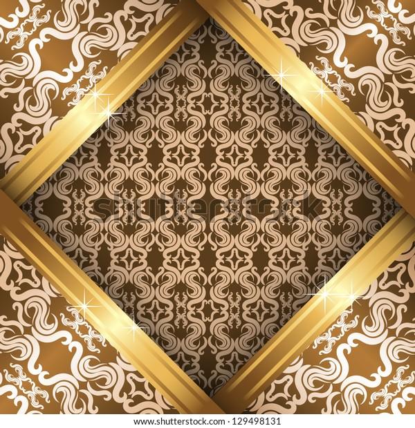 Vector ornate vintage background. Beige, brown and gold