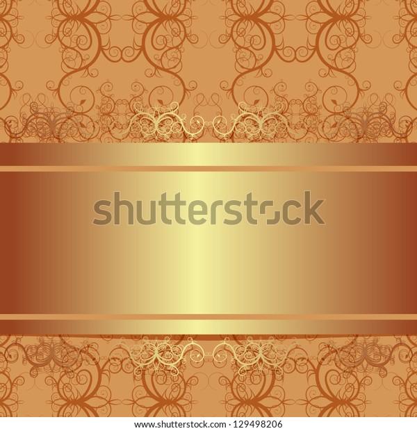 Vector ornate vintage background. Beige and gold