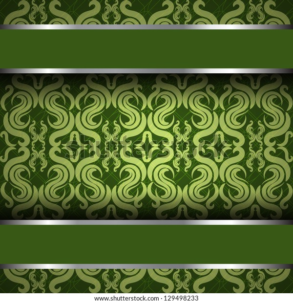 Vector ornate vintage background. Green and silver