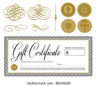 Vector Ornate Vintage Certificate and Ornaments. All pieces are separate and easy to edit. Perfect for gift certificates.