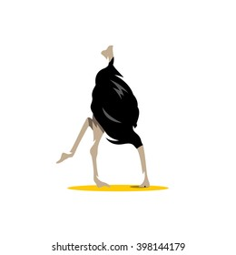Vector Ostrich Cartoon Illustration. Scared ostrich burying its head in sand concept. scimitar. Branding Identity Corporate unusual Logo isolated on a white background