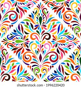 Vector Otomi Style Seamless Pattern. Traditional Mexican Style