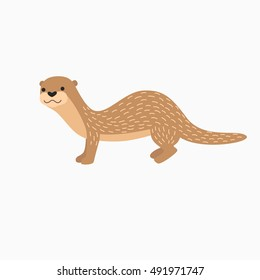 Vector Otter, Lutra lutra. Isolated on white background