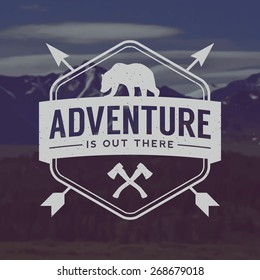 vector outdoor adventure emblem. outdoor activity symbol with grunge texture on mountain landscape background
