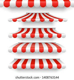 Vector outdoor awnings. Red and white stripes sunshades isolated on white background