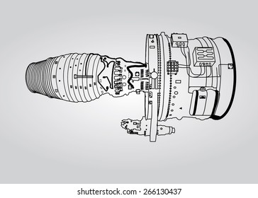 Vector outline airplane engine plan