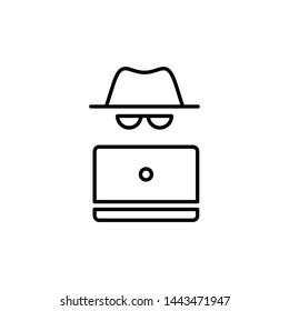 Vector outline anonymous icon. An incognito face in hat and glasses with laptop isolated on white background. Concept of web anonymity, cyber security and theft, fraud protection, hacker activity.