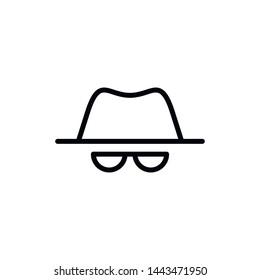 Vector outline anonymous icon. An incognito person in hat and glasses isolated on white background. Concept of anonymity, agent detective, theft, fraud protection, hacker activity.