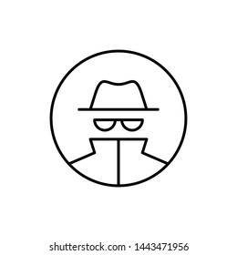 Vector outline anonymous icon. An incognito person in hat and glasses in circle frame isolated on white background. Concept of anonymity, agent detective, theft, fraud protection, hacker activity.