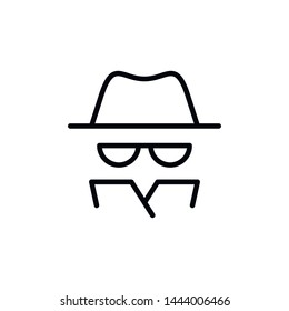 Vector outline anonymous icon. An incognito person in hat and glasses in coat isolated on white background. Concept of anonymity, agent detective, theft, fraud protection, hacker activity.