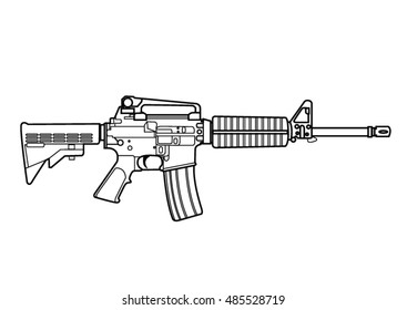 vector outline of Assault rifles for the needs of your project