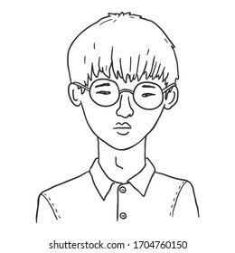 Vector Outline Avatar - Young Asian Man in Eyeglasses. Male Character Portrait.