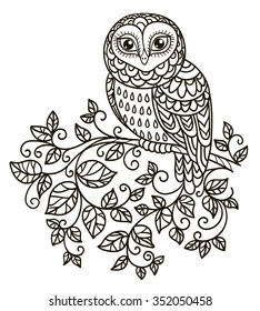 vector, outline black and white illustration, design element, doodle style owl on a branch, leaves, patterns, fantasy style, plant, abstraction, coloring book