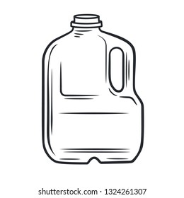 Vector outline bootle milk icon. Dairy product in plastic packaging. Retro style.