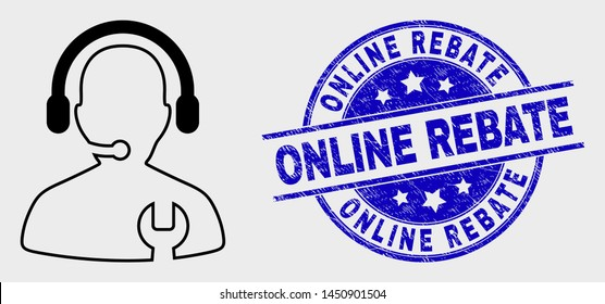 Vector outline call center serviceman pictogram and Online Rebate stamp. Blue rounded distress watermark with Online Rebate phrase. Black isolated call center serviceman pictogram in outline style.