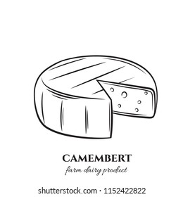 Vector outline camembert cheese icon. Illustration dairy product for menu design. Retro style.