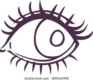 vector outline cartoon cute simple eye looking sideways