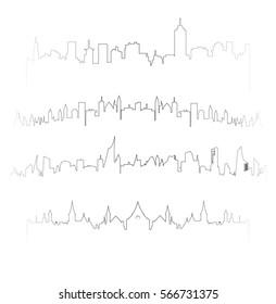 Vector outline cityscape silhouettes set