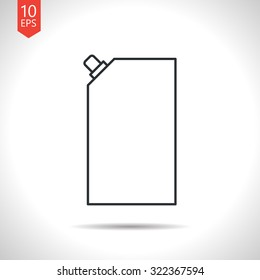 Vector outline classic grey mayonnaise plastic package icon on white background