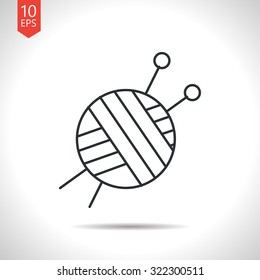 Vector outline classic grey tailor ravel ball of yarn for knitting icon on white background