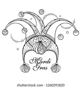 Vector outline clown or harlequin cap with peacock feathers and beads isolated on white background. Traditional symbol of Mardi Gras party or masquerade design in contour style and coloring book.