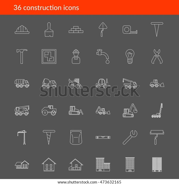 Vector outline construction icons on dark background