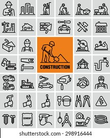 Vector outline construction icons set